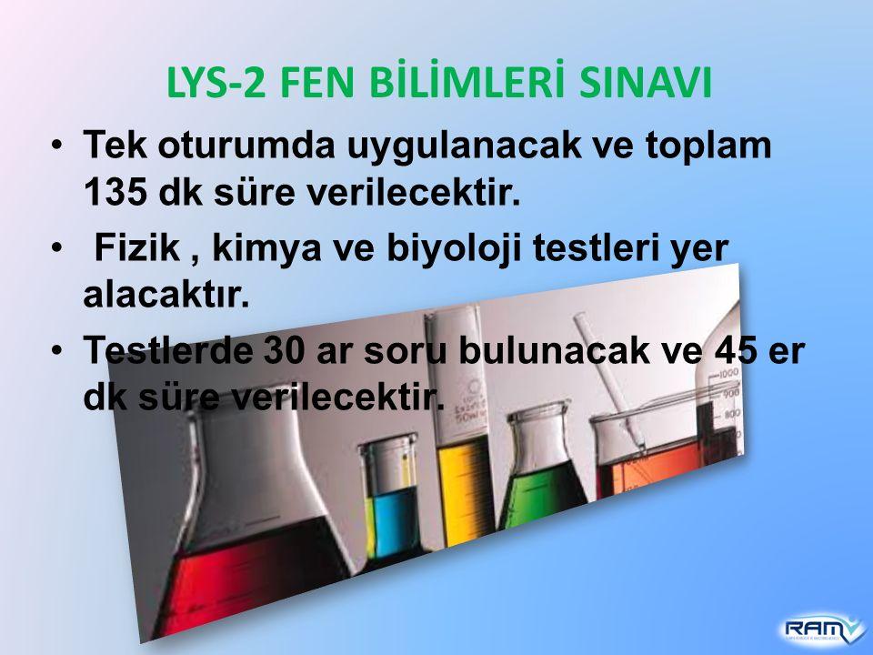 LYS-2 FEN BİLİMLERİ SINAVI