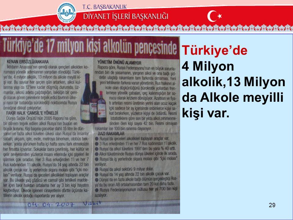 Türkiye'de 4 Milyon alkolik,13 Milyon da Alkole meyilli kişi var.