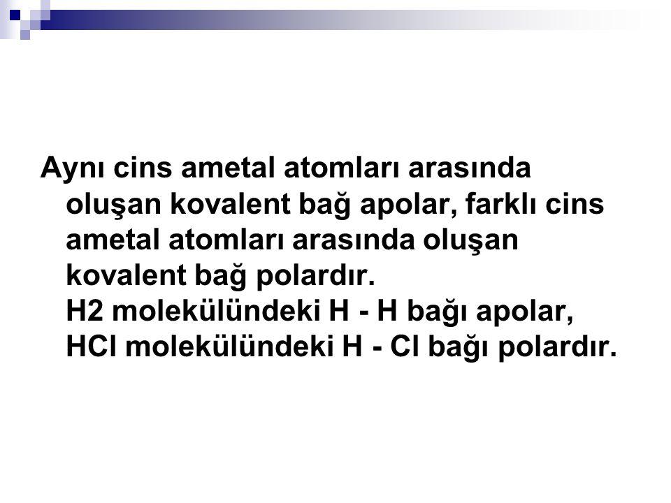 Aynı cins ametal atomları arasında oluşan kovalent bağ apolar, farklı cins ametal atomları arasında oluşan kovalent bağ polardır.