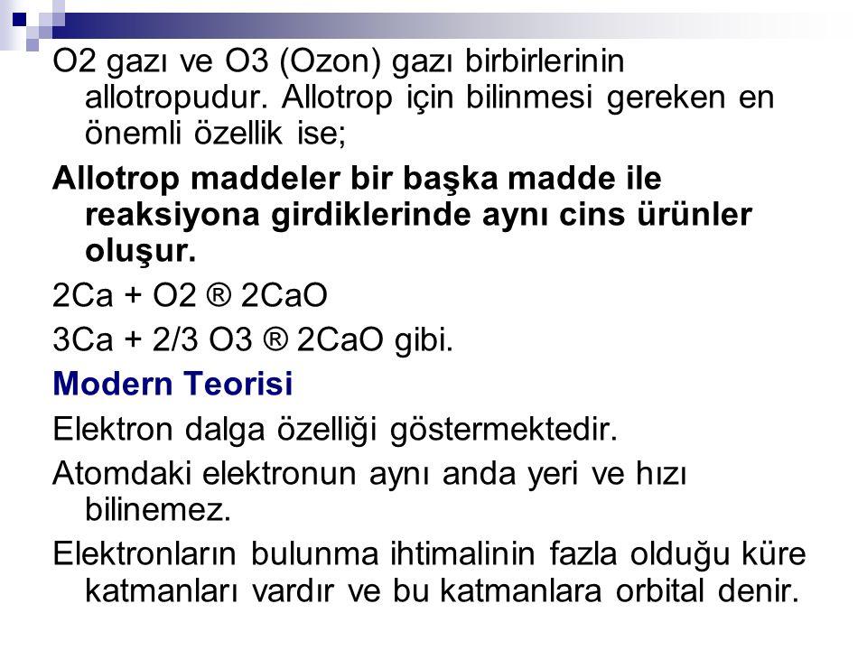 O2 gazı ve O3 (Ozon) gazı birbirlerinin allotropudur