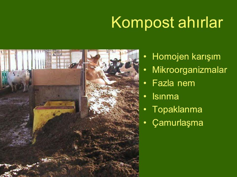 Kompost ahırlar Homojen karışım Mikroorganizmalar Fazla nem Isınma