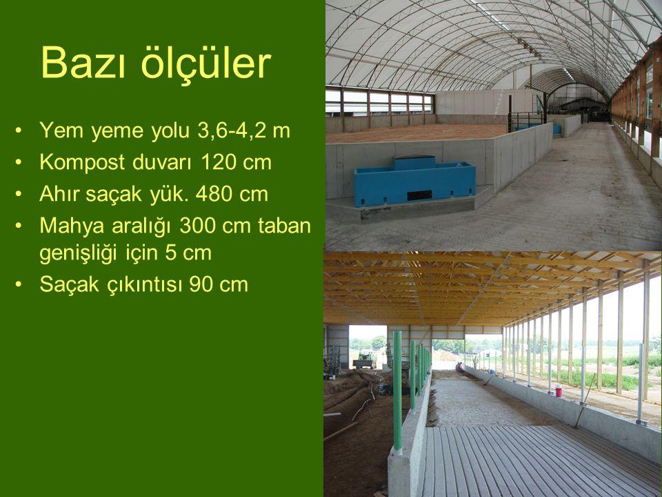Bazı ölçüler Yem yeme yolu 3,6-4,2 m Kompost duvarı 120 cm