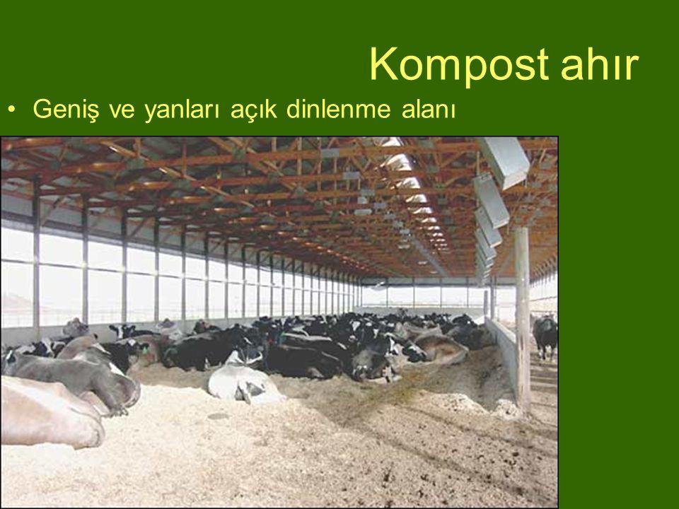 Kompost ahır Geniş ve yanları açık dinlenme alanı