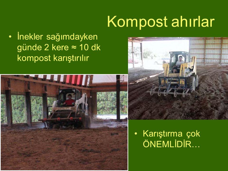 Kompost ahırlar İnekler sağımdayken günde 2 kere ≈ 10 dk kompost karıştırılır.