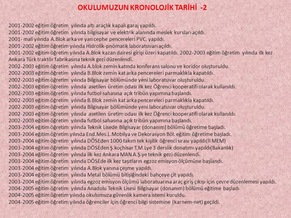 OKULUMUZUN KRONOLOJİK TARİHİ -2
