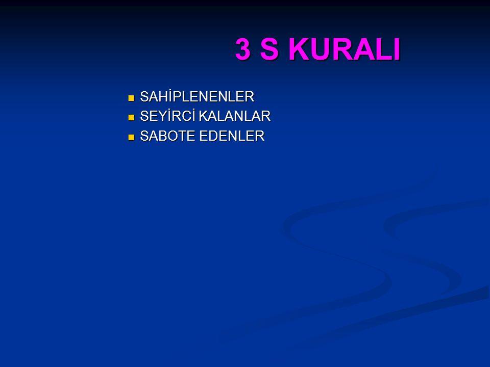 3 S KURALI SAHİPLENENLER SEYİRCİ KALANLAR SABOTE EDENLER