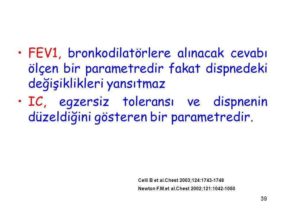 FEV1, bronkodilatörlere alınacak cevabı ölçen bir parametredir fakat dispnedeki değişiklikleri yansıtmaz