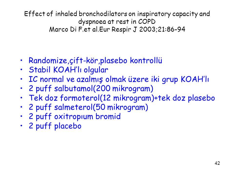 Randomize,çift-kör,plasebo kontrollü Stabil KOAH'lı olgular