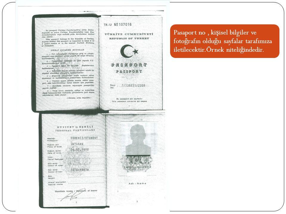 Pasaport no , kişisel bilgiler ve fotoğrafın olduğu sayfalar tarafımıza iletilecektir.Örnek niteliğindedir.