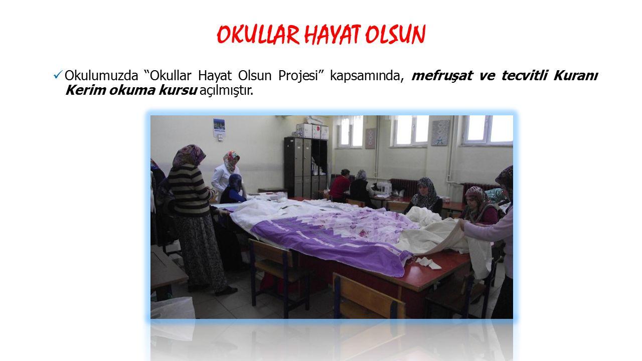 OKULLAR HAYAT OLSUN Okulumuzda Okullar Hayat Olsun Projesi kapsamında, mefruşat ve tecvitli Kuranı Kerim okuma kursu açılmıştır.