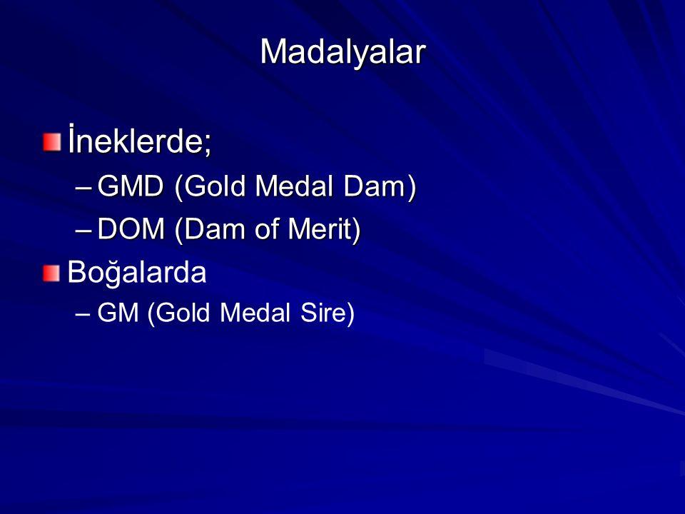 Madalyalar İneklerde; Boğalarda GMD (Gold Medal Dam)