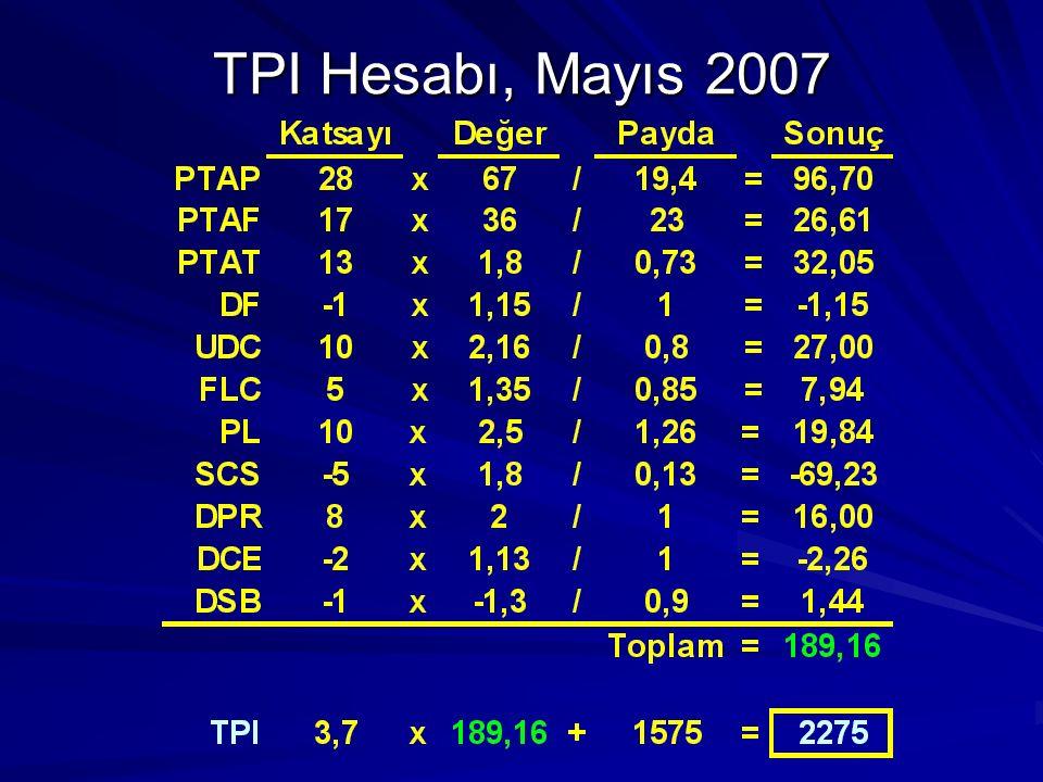 TPI Hesabı, Mayıs 2007