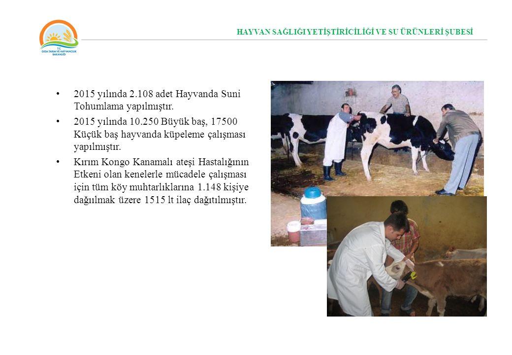 2015 yılında 2.108 adet Hayvanda Suni Tohumlama yapılmıştır.
