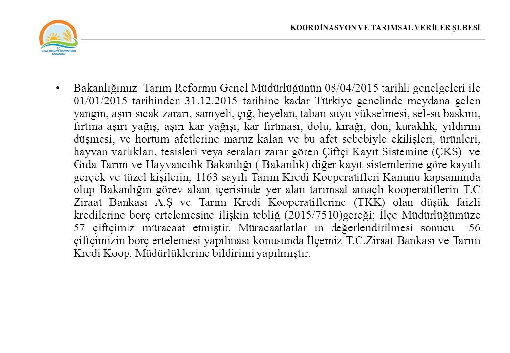 KOORDİNASYON VE TARIMSAL VERİLER ŞUBESİ