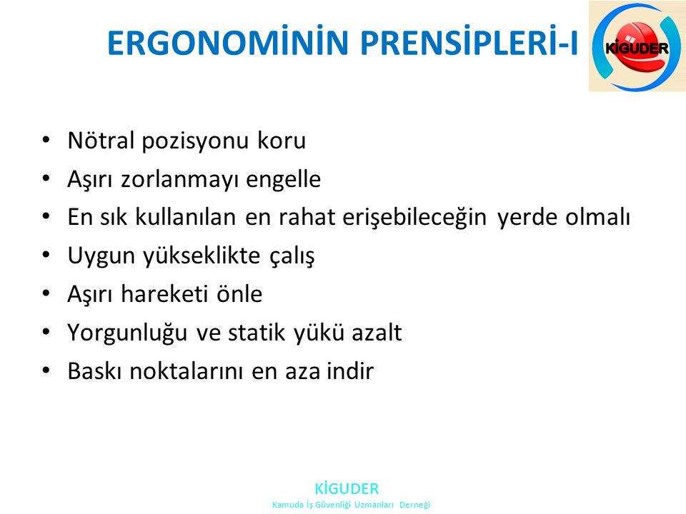 ERGONOMİNİN PRENSİPLERİ-I