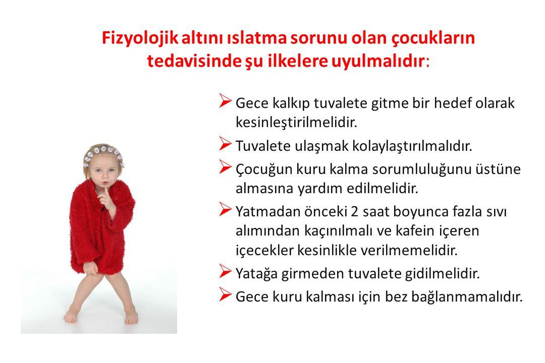 Fizyolojik altını ıslatma sorunu olan çocukların tedavisinde şu ilkelere uyulmalıdır: