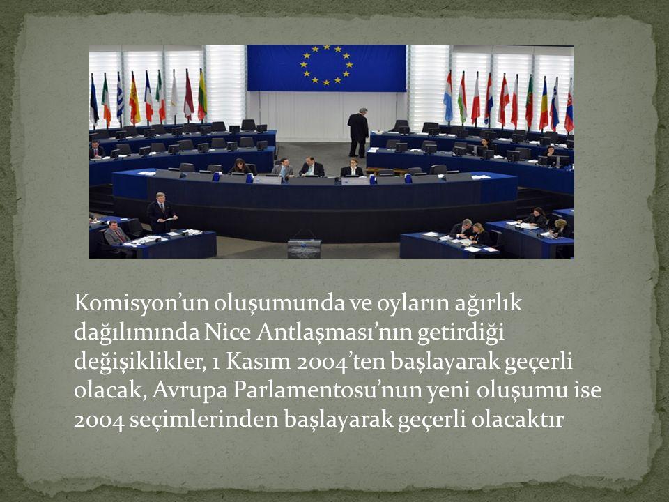 Komisyon'un oluşumunda ve oyların ağırlık dağılımında Nice Antlaşması'nın getirdiği değişiklikler, 1 Kasım 2004'ten başlayarak geçerli olacak, Avrupa Parlamentosu'nun yeni oluşumu ise 2004 seçimlerinden başlayarak geçerli olacaktır