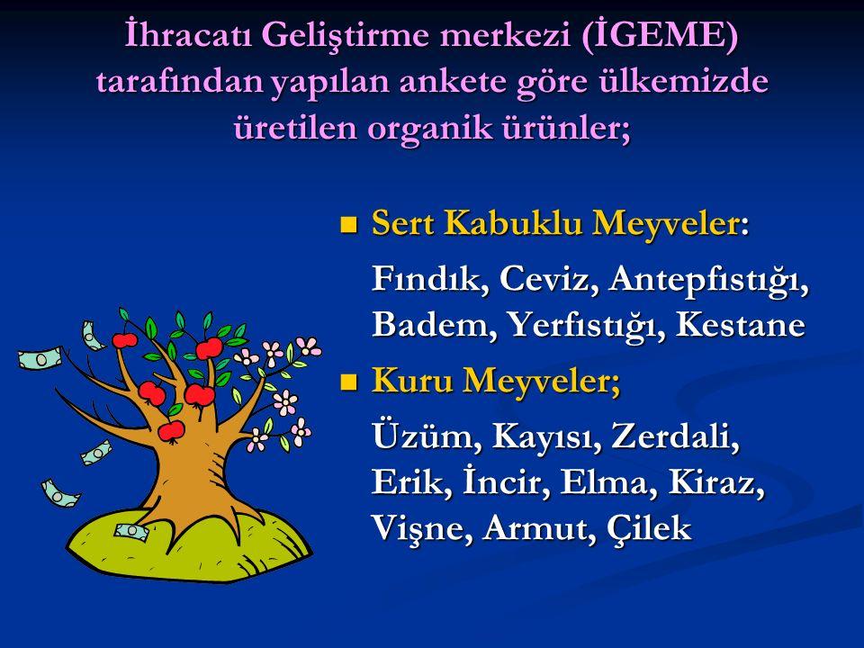 İhracatı Geliştirme merkezi (İGEME) tarafından yapılan ankete göre ülkemizde üretilen organik ürünler;