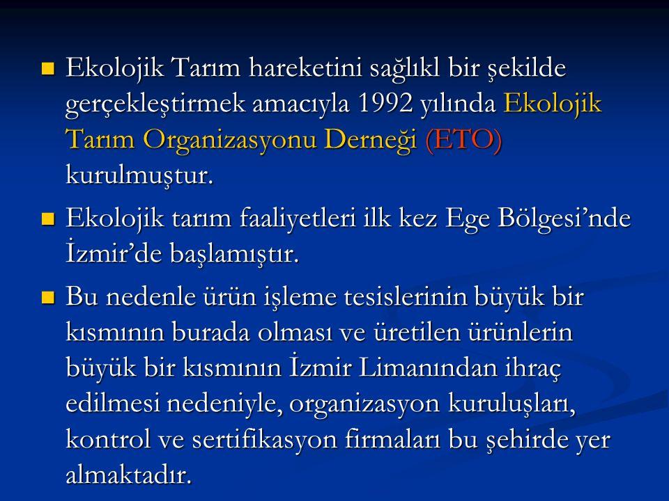 Ekolojik Tarım hareketini sağlıkl bir şekilde gerçekleştirmek amacıyla 1992 yılında Ekolojik Tarım Organizasyonu Derneği (ETO) kurulmuştur.