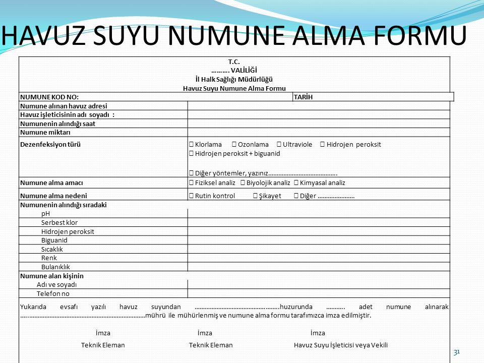 HAVUZ SUYU NUMUNE ALMA FORMU