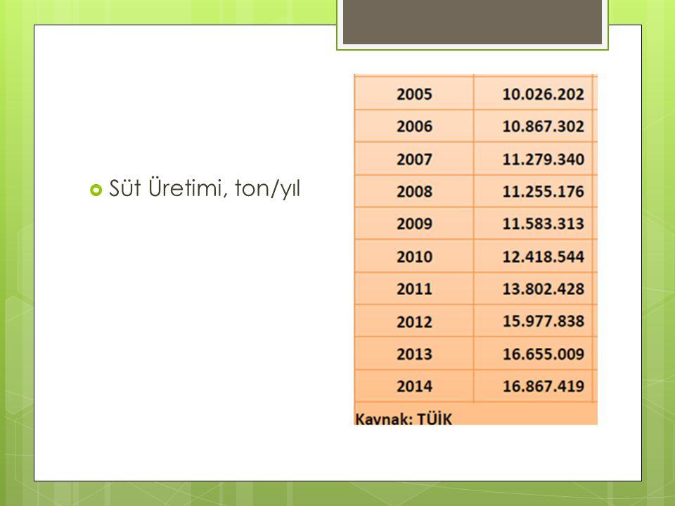 Süt Üretimi, ton/yıl
