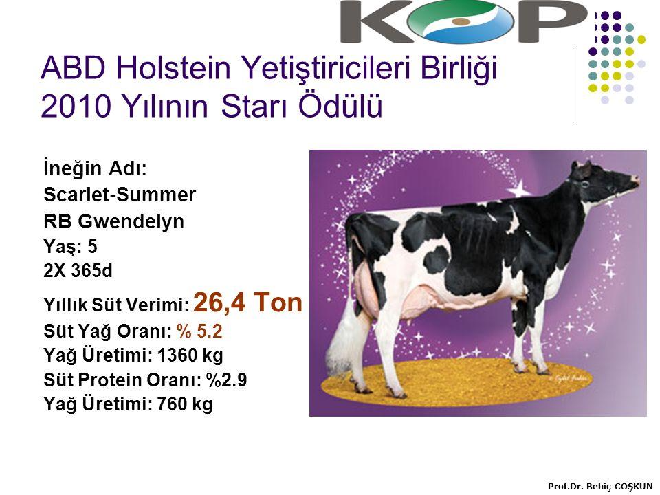 ABD Holstein Yetiştiricileri Birliği 2010 Yılının Starı Ödülü