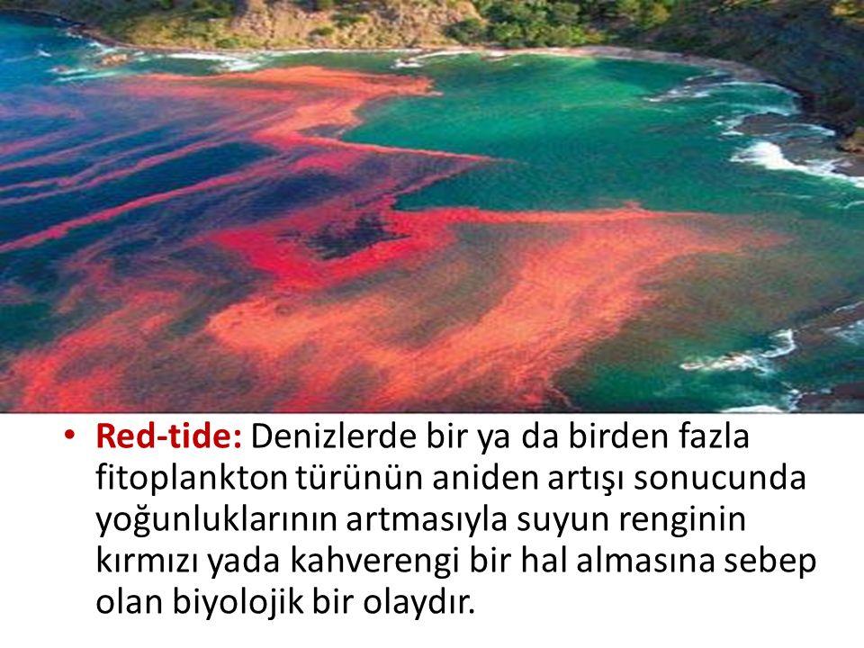 Red-tide: Denizlerde bir ya da birden fazla fitoplankton türünün aniden artışı sonucunda yoğunluklarının artmasıyla suyun renginin kırmızı yada kahverengi bir hal almasına sebep olan biyolojik bir olaydır.