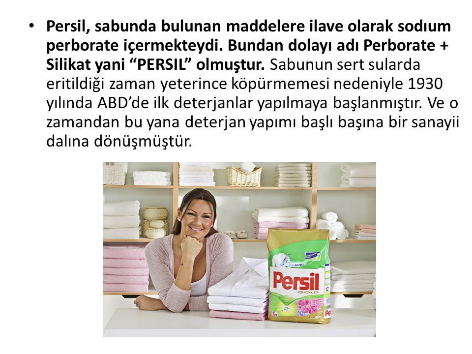 Persil, sabunda bulunan maddelere ilave olarak sodıum perborate içermekteydi.