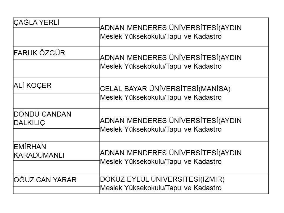 ÇAĞLA YERLİ ADNAN MENDERES ÜNİVERSİTESİ(AYDIN. Meslek Yüksekokulu/Tapu ve Kadastro. FARUK ÖZGÜR.