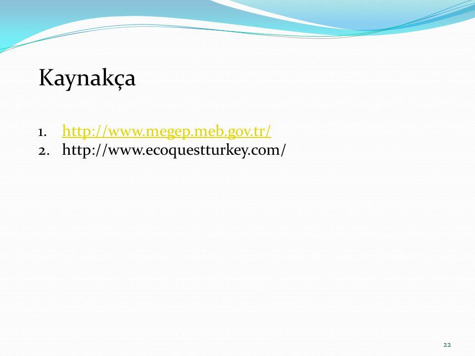 Kaynakça http://www.megep.meb.gov.tr/ http://www.ecoquestturkey.com/