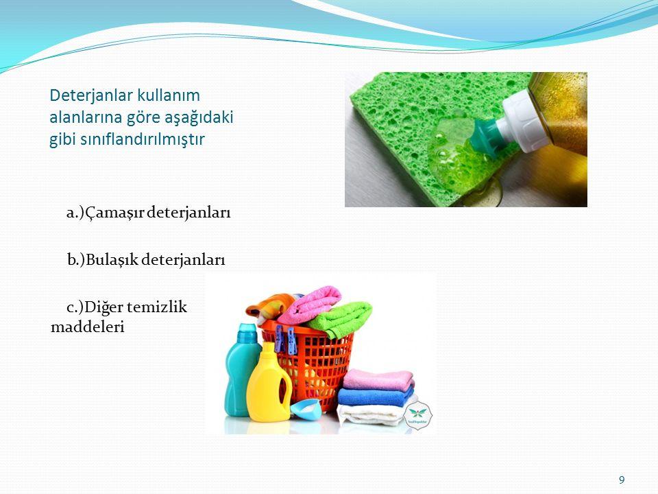 Deterjanlar kullanım alanlarına göre aşağıdaki gibi sınıflandırılmıştır