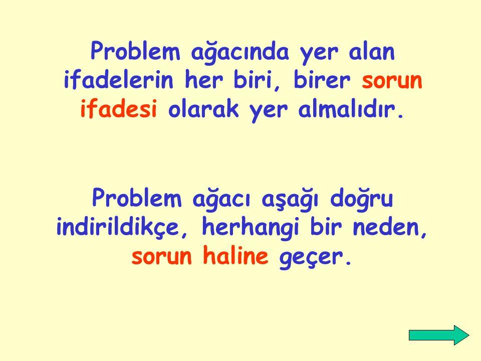 Problem ağacında yer alan ifadelerin her biri, birer sorun ifadesi olarak yer almalıdır.