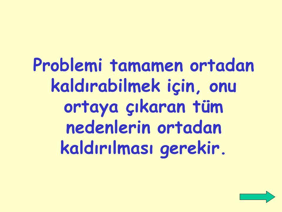 Problemi tamamen ortadan kaldırabilmek için, onu ortaya çıkaran tüm nedenlerin ortadan kaldırılması gerekir.