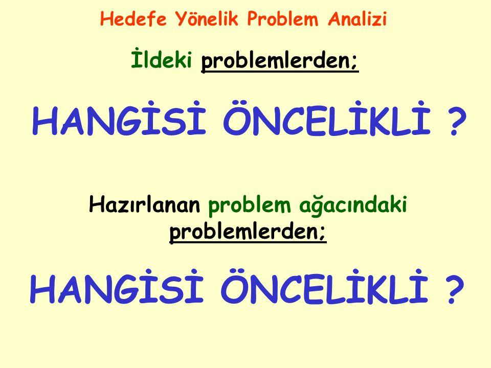 HANGİSİ ÖNCELİKLİ HANGİSİ ÖNCELİKLİ İldeki problemlerden;