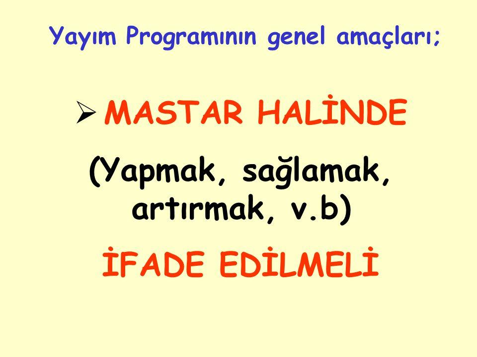 Yayım Programının genel amaçları; (Yapmak, sağlamak, artırmak, v.b)
