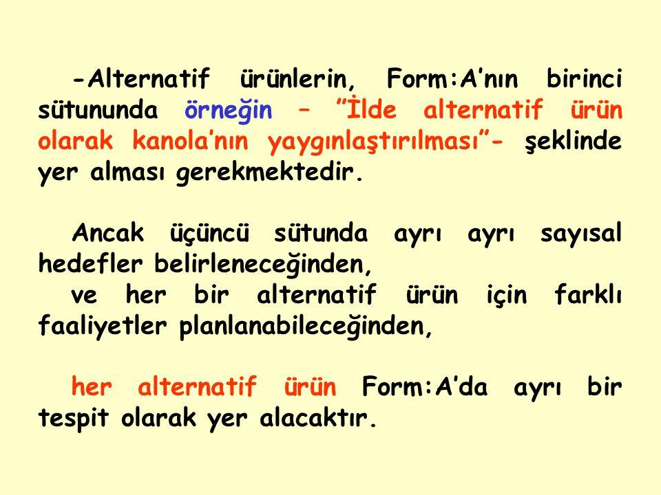 -Alternatif ürünlerin, Form:A'nın birinci sütununda örneğin – İlde alternatif ürün olarak kanola'nın yaygınlaştırılması - şeklinde yer alması gerekmektedir.