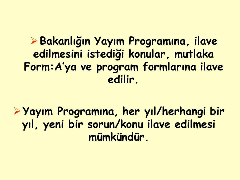 Bakanlığın Yayım Programına, ilave edilmesini istediği konular, mutlaka Form:A'ya ve program formlarına ilave edilir.