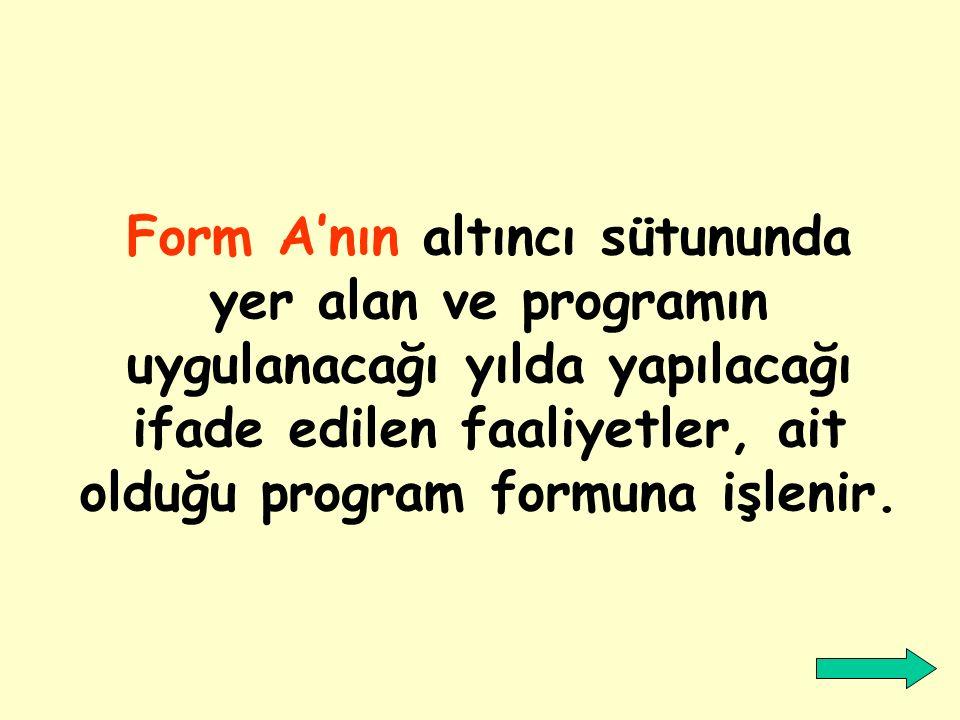Form A'nın altıncı sütununda yer alan ve programın uygulanacağı yılda yapılacağı ifade edilen faaliyetler, ait olduğu program formuna işlenir.