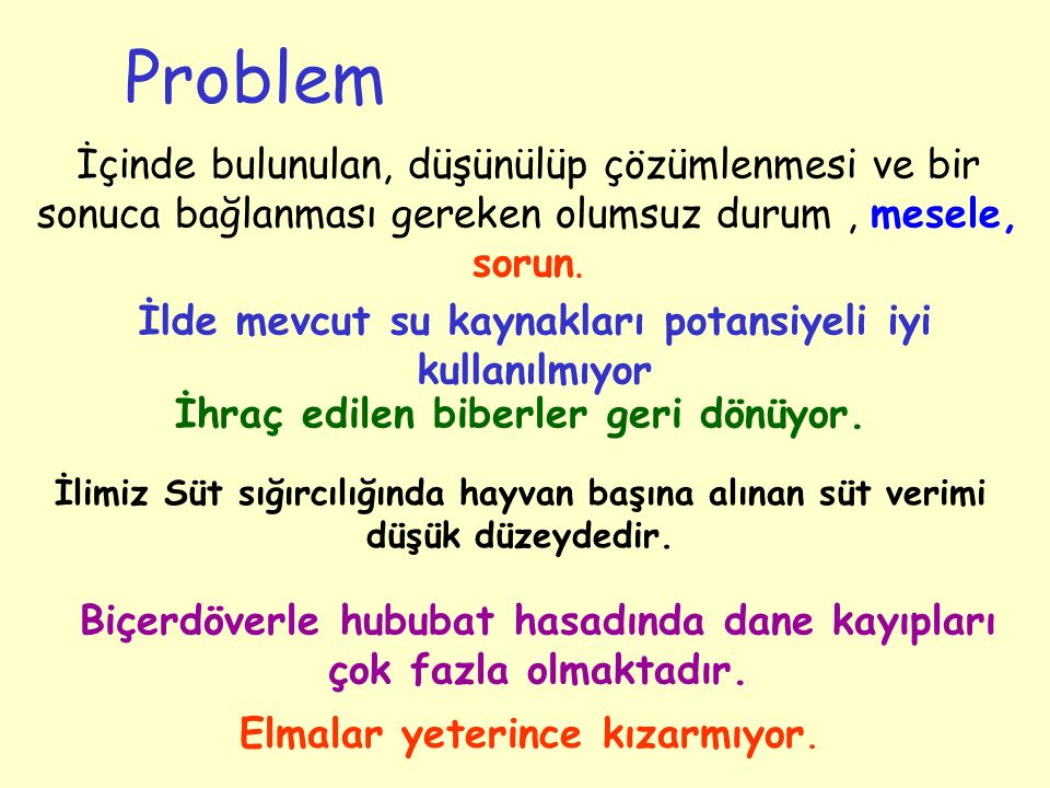 Problem İçinde bulunulan, düşünülüp çözümlenmesi ve bir sonuca bağlanması gereken olumsuz durum , mesele, sorun.