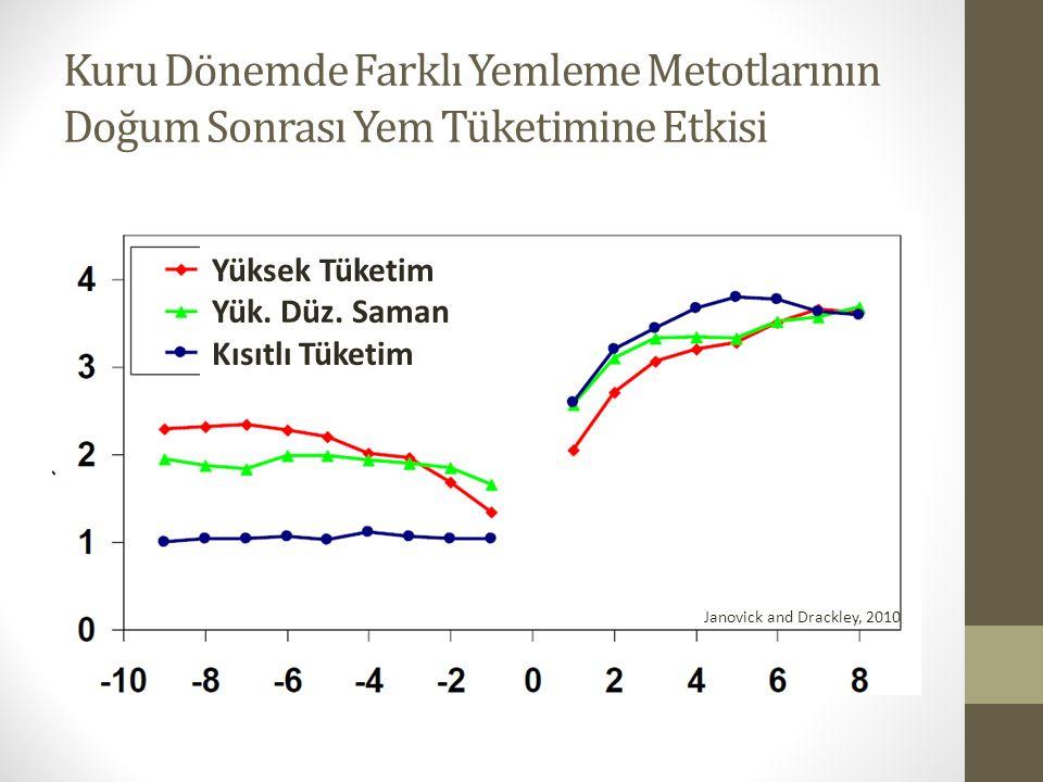Kuru Dönemde Farklı Yemleme Metotlarının Doğum Sonrası Yem Tüketimine Etkisi