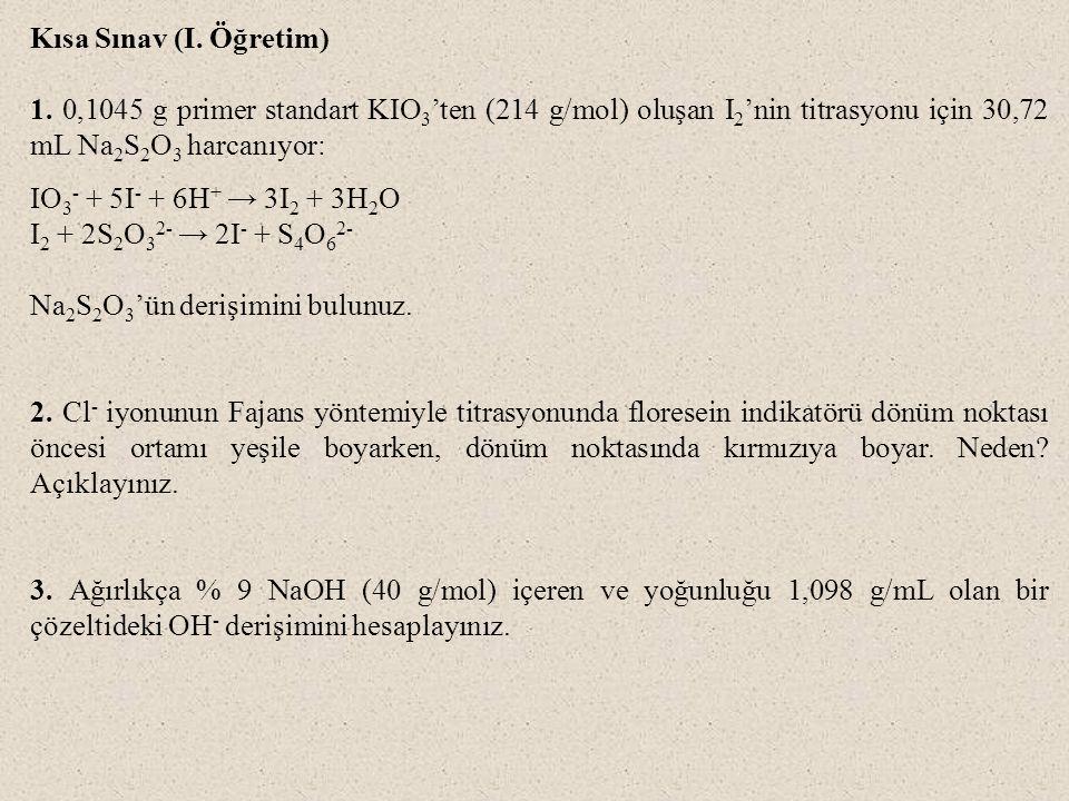 Kısa Sınav (I. Öğretim) 1. 0,1045 g primer standart KIO3'ten (214 g/mol) oluşan I2'nin titrasyonu için 30,72 mL Na2S2O3 harcanıyor:
