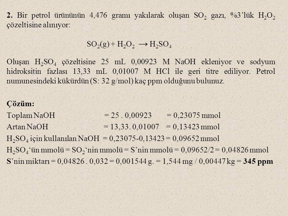 2. Bir petrol ürününün 4,476 gramı yakılarak oluşan SO2 gazı, %3'lük H2O2 çözeltisine alınıyor: