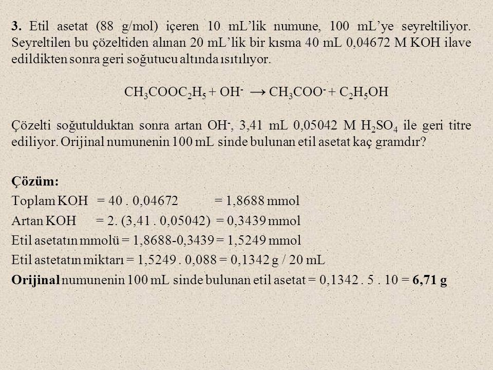 3. Etil asetat (88 g/mol) içeren 10 mL'lik numune, 100 mL'ye seyreltiliyor. Seyreltilen bu çözeltiden alınan 20 mL'lik bir kısma 40 mL 0,04672 M KOH ilave edildikten sonra geri soğutucu altında ısıtılıyor.