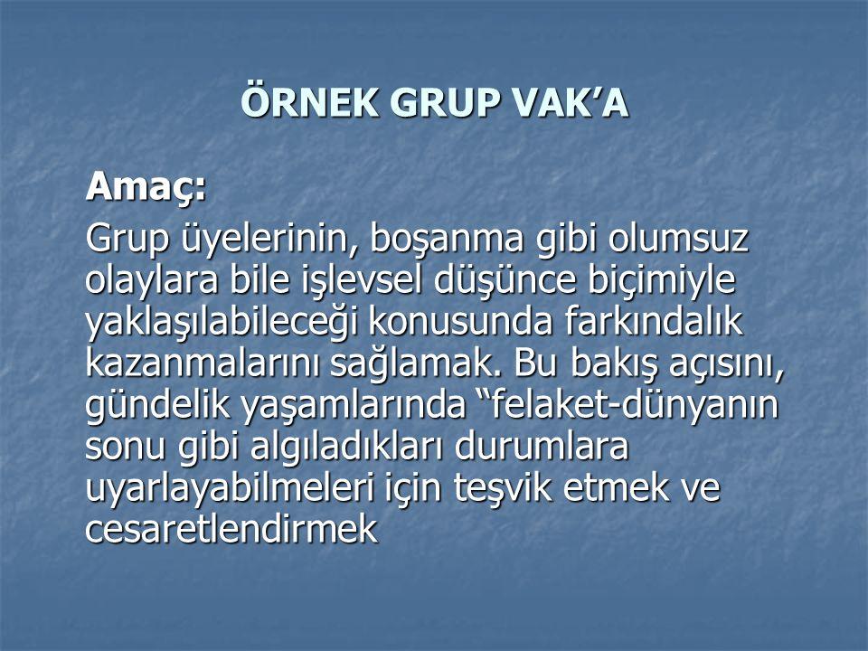 ÖRNEK GRUP VAK'A Amaç: