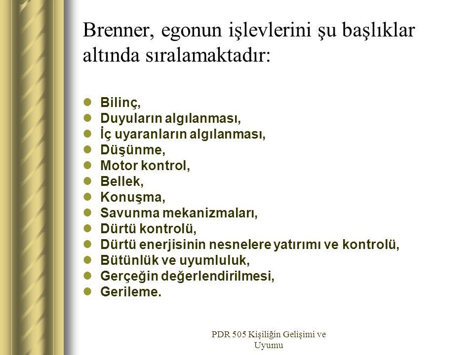 Brenner, egonun işlevlerini şu başlıklar altında sıralamaktadır: