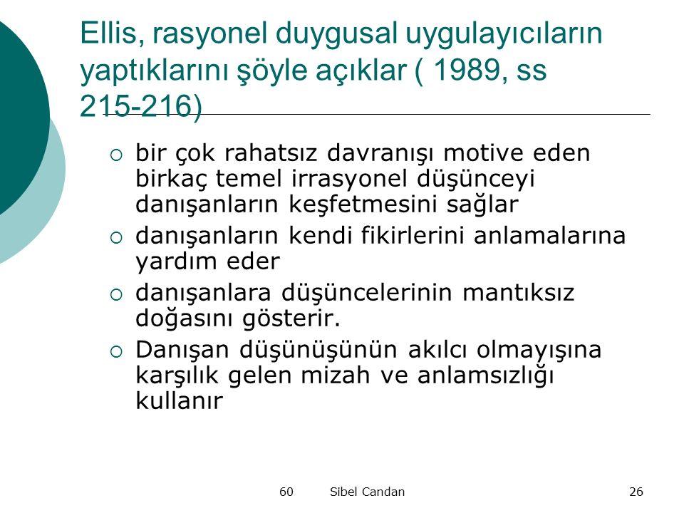 Ellis, rasyonel duygusal uygulayıcıların yaptıklarını şöyle açıklar ( 1989, ss 215-216)