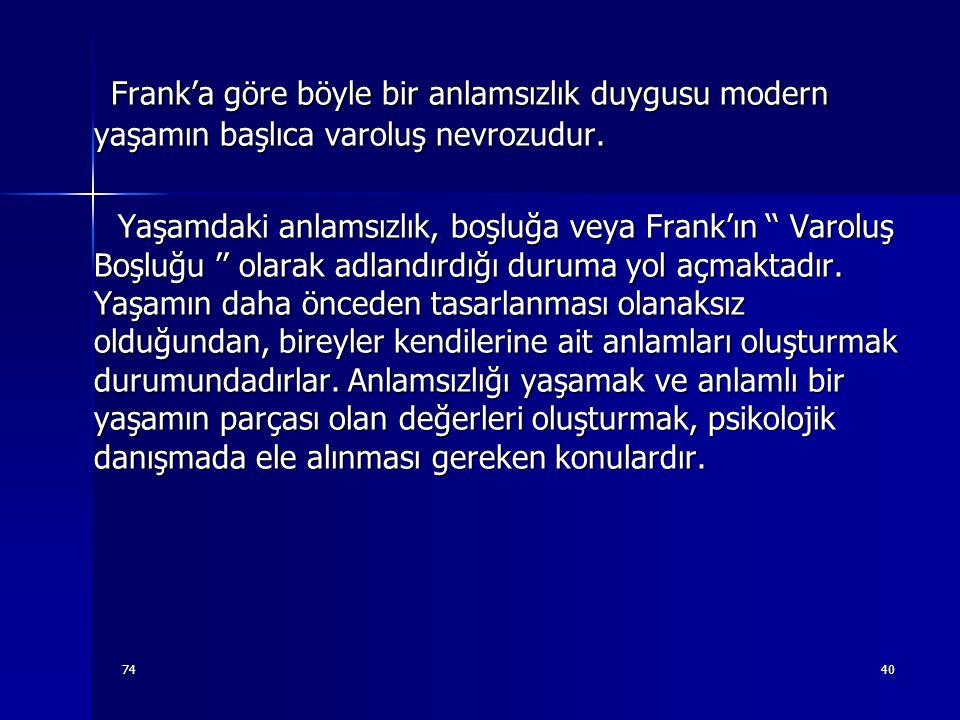 Frank'a göre böyle bir anlamsızlık duygusu modern yaşamın başlıca varoluş nevrozudur.