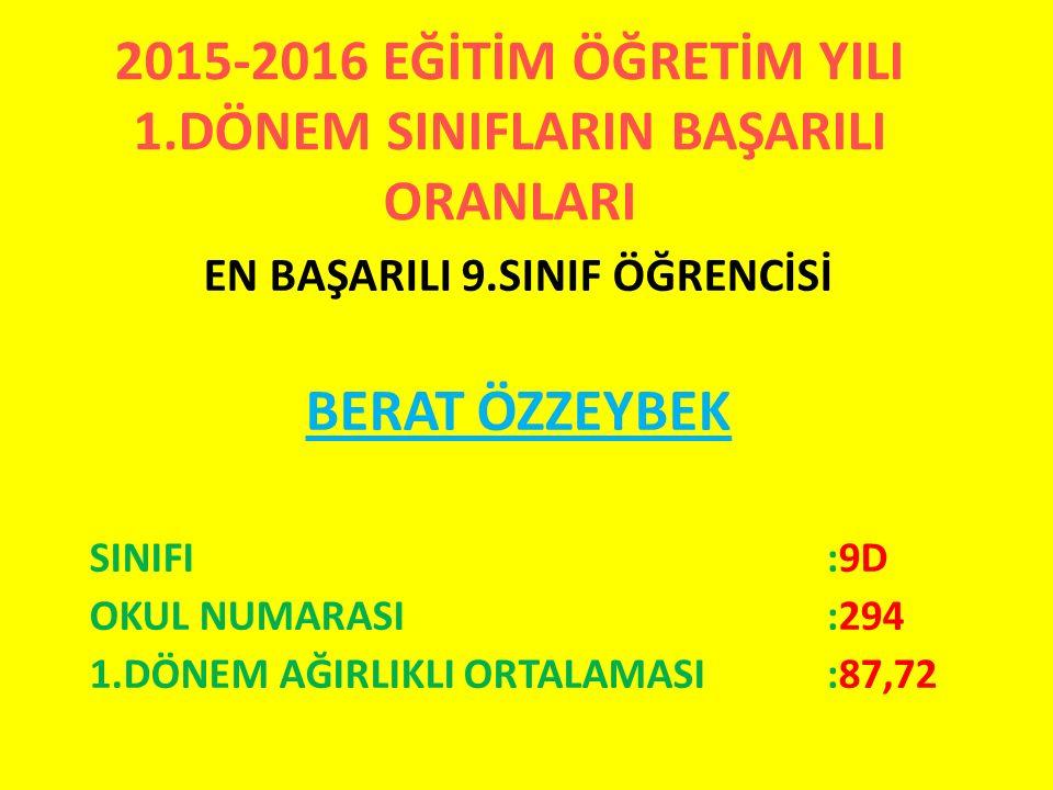 2015-2016 EĞİTİM ÖĞRETİM YILI 1.DÖNEM SINIFLARIN BAŞARILI ORANLARI