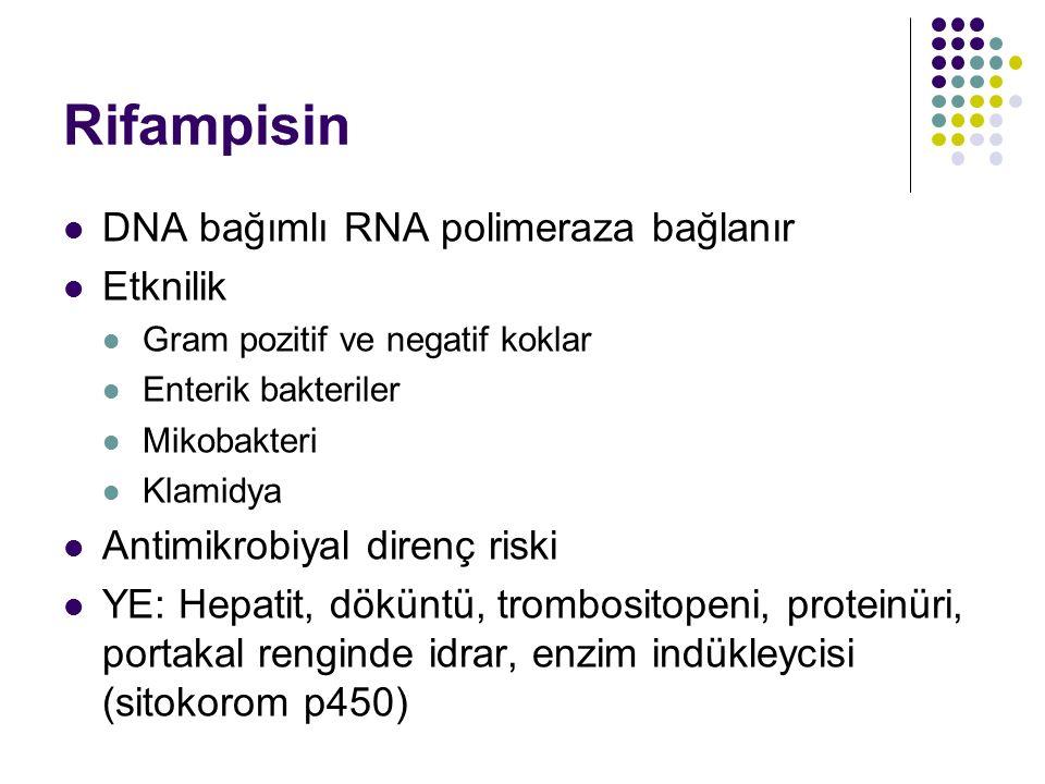 Rifampisin DNA bağımlı RNA polimeraza bağlanır Etknilik