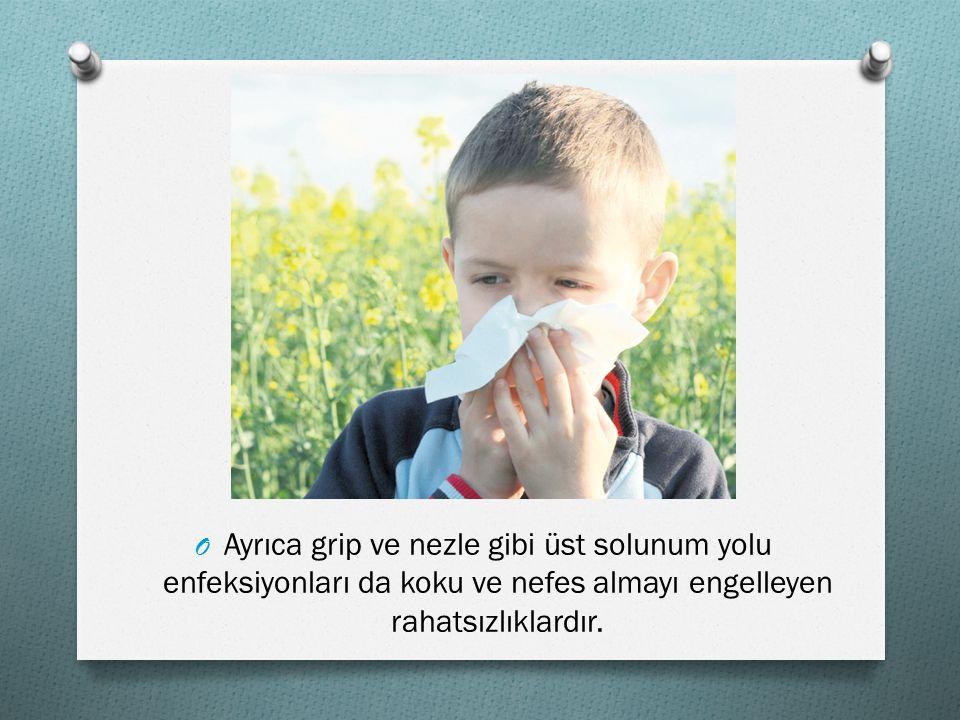 Ayrıca grip ve nezle gibi üst solunum yolu enfeksiyonları da koku ve nefes almayı engelleyen rahatsızlıklardır.
